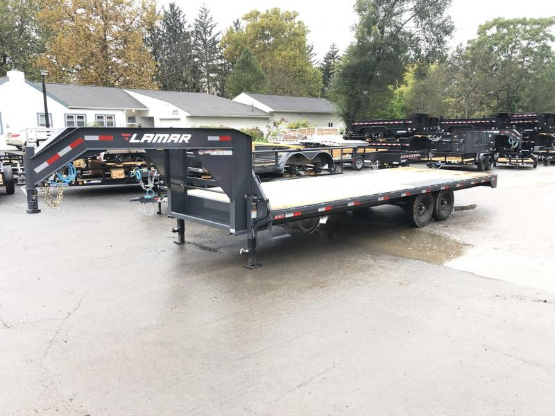 2020 Lamar 102x24' Gooseneck Deckover Trailer 14000# GVW * 8' SLIDE IN RAMPS * DUAL JACKS
