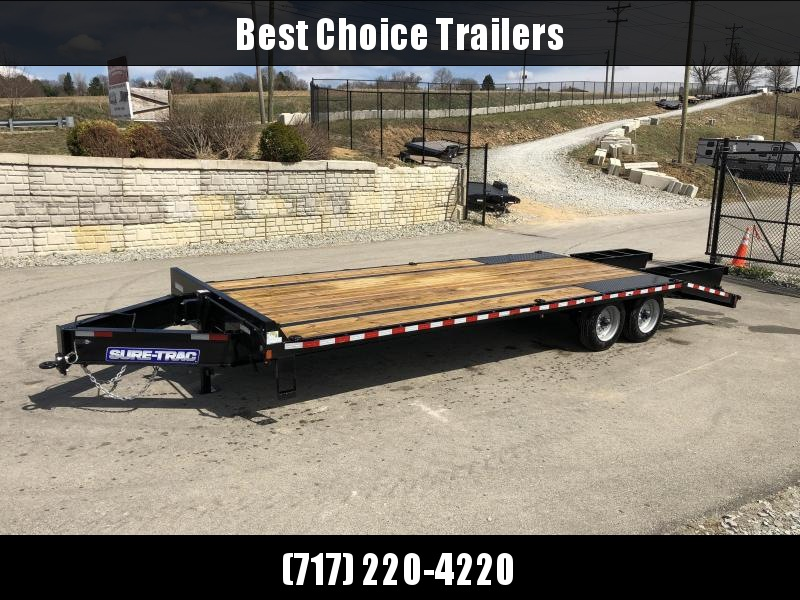 "2019 Sure-Trac 102x25' HD Beavertail Deckover Trailer 17600# GVW * 8000# AXLES * 17.5"" 16-PLY TIRES * 3 3/8"" BRAKES * FLIPOVER RAMPS + SPRING ASSIST * 12"" I-BEAM * PIERCED FRAME * RUBRAIL/STAKE POCKETS/PIPE SPOOLS/10 D-RINGS * CROSS TRAC * CLEARANCE"