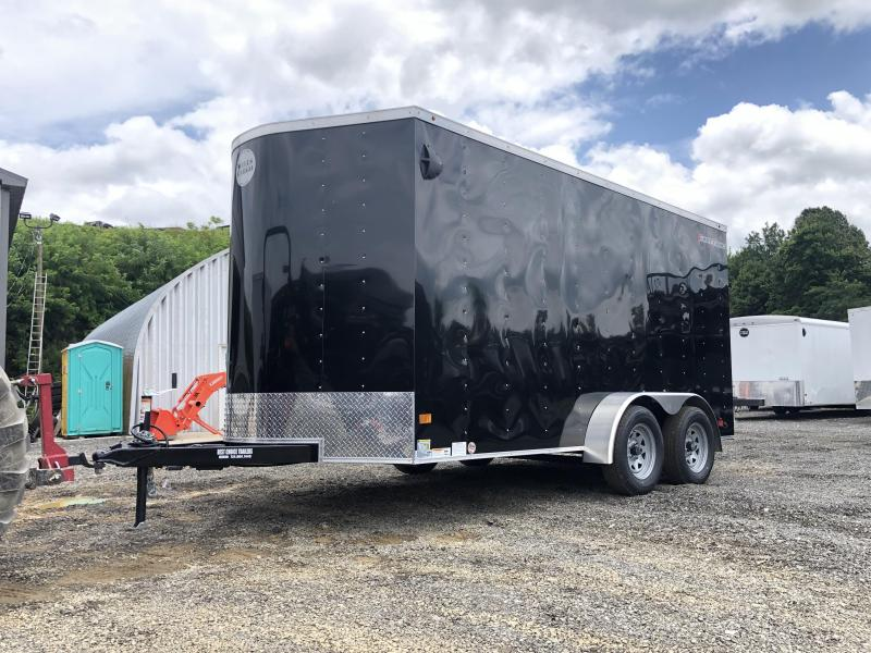 2020 Wells Cargo 7x16' Fastrac DELUXE Enclosed Cargo Trailer 7000# GVW * BLACK * RAMP DOOR * V-NOSE * .030 * 1 PC ALUM ROOF