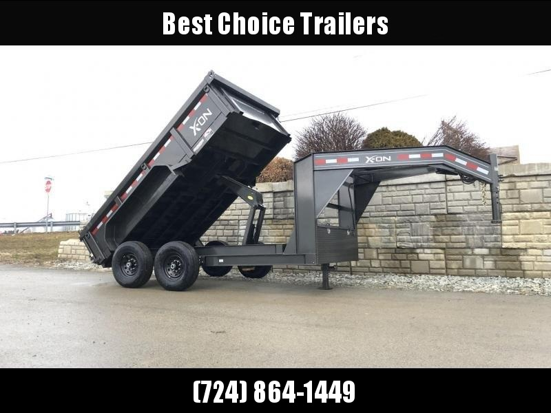 2019 X-on 7x14' Low Profile Gooseneck Dump Trailer 14000# GVW * 7 GA FLOOR * TARP KIT * SCISSOR * 3 WAY GATE * I-BEAM FRAME & NECK * FRONT TOOLBOX * DUAL JACKS * CLEARANCE