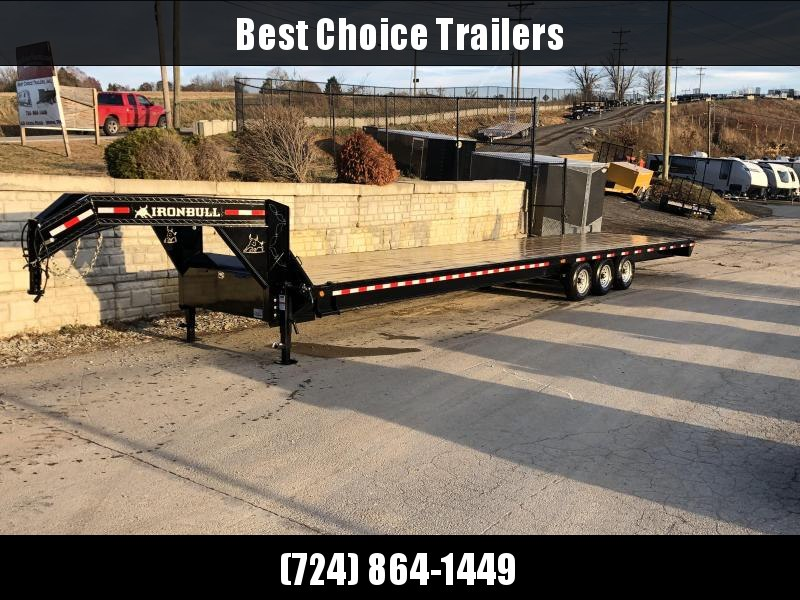 2020 Ironbull 102x40' Gooseneck Beavertail Flatbed Deckover  21000# GVW * 8' SLIDE IN RAMPS * I-BEAM FRAME * RUBRAIL/STAKE POCKETS/PIPE SPOOLS/D-RINGS * DUAL JACKS * FULL TOOLBOX * DEXTER'S