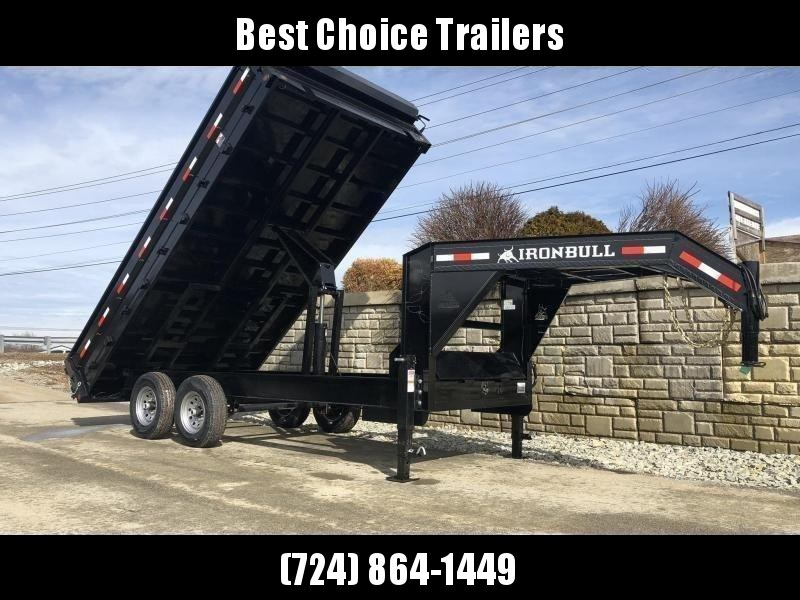 2019 Ironbull 8x14' Gooseneck Deckover Dump Trailer 14000# GVW * TARP KIT * I-BEAM FRAME * BED RUNNERS * FULL FRONT TOOLBOX * DUAL JACKS * FOLD DOWN SIDES * OVERSIZE 5x20 SCISSOR * INTGRATED KEYWAY/10GA WALLS * CLEARANCE