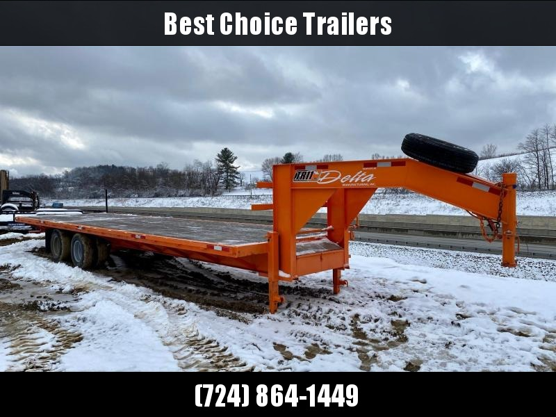 USED 2014 Delta 102x30' Gooseneck Deckover Trailer 23400# GVW * DEXTER 10000# AXLES * EOH BRAKES * DUAL JACKS * FRONT TOOLBOX * ORANGE