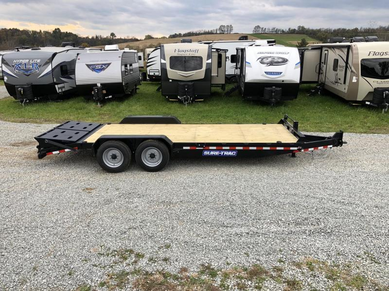 "2019 Sure-Trac 7x17+3' Equipment Trailer 16000# GVW - UNIVERSAL RAMPS * 8000# AXLE UPGRADE * 17.5"" RUBBER * 8"" FRAME UPGRADE * HD COUPLER * CLEARANCE"