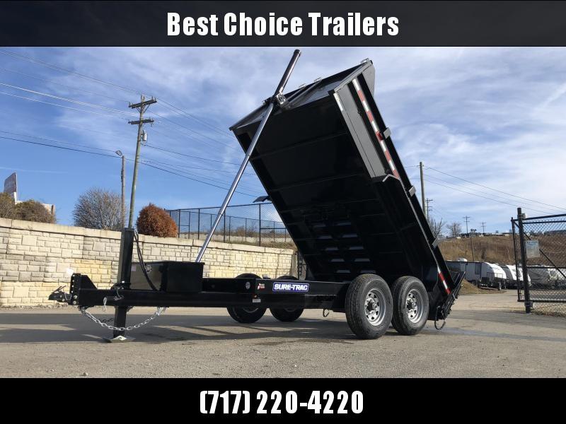 2020 Sure-Trac 7x12' Dump Trailer 12000# GVW * 7 GA FLOOR * HYDRAULIC JACK * TELESCOPIC HOIST * FRONT/REAR BULKHEAD * INTEGRATED KEYWAY * 2' SIDES * UNDERBODY TOOL TRAY * ADJUSTABLE COUPLER * 110V CHARGER * UNDERMOUNT RAMPS * COMBO GATE