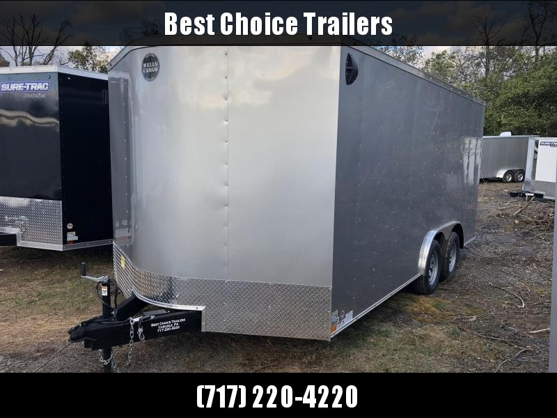 2019 Wells Cargo 8.5x16' Fastrac DELUXE Enclosed Car Trailer 7000# GVW * SILVER EXTERIOR * RAMP DOOR * CLEARANCE