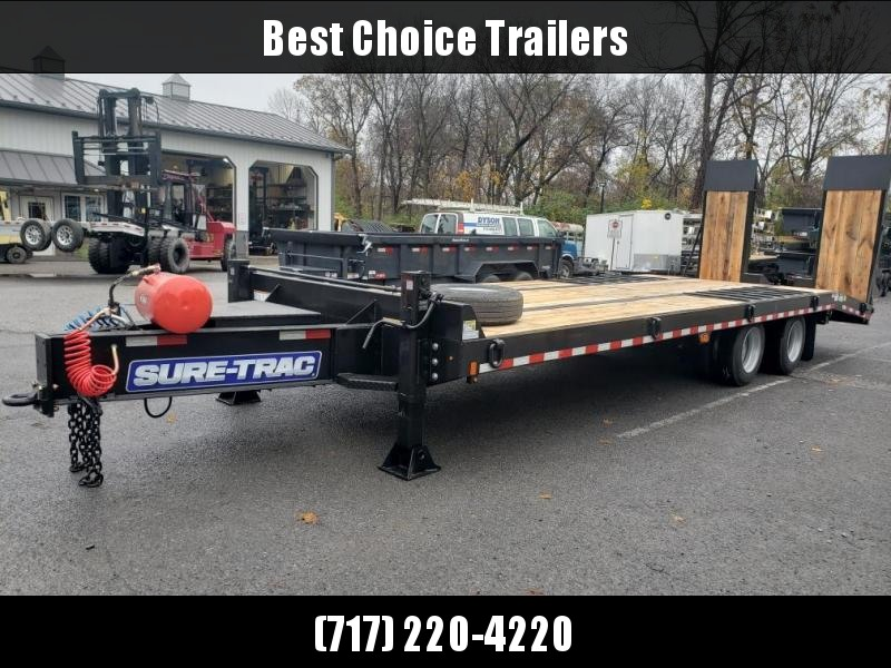 "2020 Sure Trac 102x27' Air Brake Beavertail Deckover Trailer 49000# GVW * 30X80 WOOD FILLED AIR RAMPS * 14"" PIERCED I-BEAM FRAME * 17.5"" 16-PLY * 2"" OAK DECK * HUTCH 9700 SUSPENSION * DUAL 50K 2-SP JACKS * TOOLBOX * (12) 1"" D-RINGS"