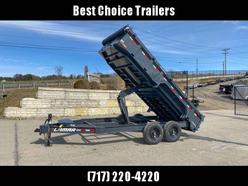 "2020 Lamar 7x16' Dump Trailer 14000# GVW * 7GA FLOOR * 14-PLY TIRES * TARP KIT * UNDERMOUNT RAMPS * SCISSOR HOIST * 12K JACK * CHARCOAL * RIGID RAILS * HD COUPLER * NESTLED I-BEAM FRAME 28"" H * 3-WAY GATE * 12"" O.C. C/M"