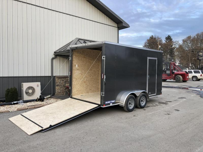 "2020 Sure-Trac 7x14' Enclosed Cargo Trailer 7000# GVW * CHARCOAL * +12"" HEIGHT (7') * 4 D-RINGS * SEMI-SCREWLESS * RV DOOR * TUBE STUDS * HEAVY WALL FRAME * LOADING LIGHT * STABILIZER JACKS * BEAVERTAIL * UTV PACKAGE"