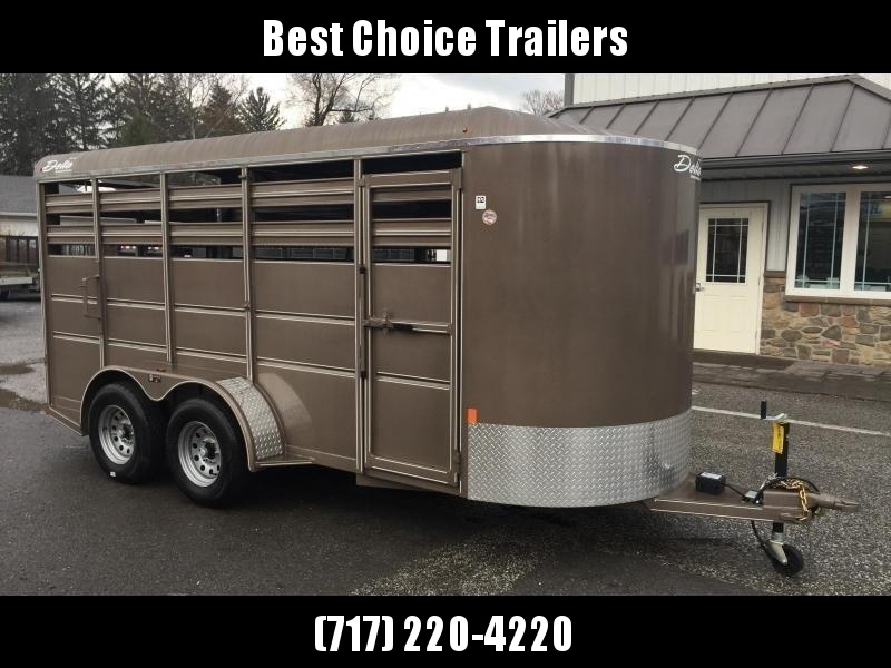 2020 Delta 16' Livestock Trailer 7000# GVW * BEIGE * CENTER GATE * ESCAPE DOOR * DEXTER
