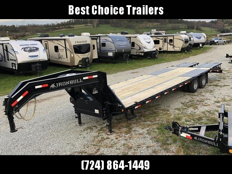 2020 Ironbull 102x19+5' Gooseneck Beavertail Flatbed Deckover 25990# GVW * DEXTER 12K AXLES * FULL WIDTH RAMPAGE RAMPS * PIERCED FRAME * SPARE TIRE * UNDER FRAME BRIDGE