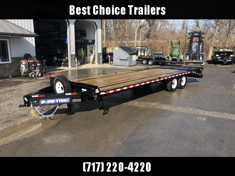 "2020 Sure-Trac 102x25' HD Beavertail Deckover Trailer 15000# GVW * FULL WIDTH RAMPS (STAND UP OR FLIPOVER) * 12"" I-BEAM MAINFRAME * PIERCED FRAME * RUBRAIL/STAKE POCKETS/PIPE SPOOLS/10 D-RINGS * CROSS TRAC BRACING * HD DOVETAIL W/ TUBULAR BUMPER"