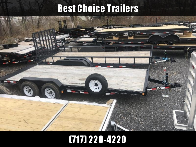 USED 2018 PJ 7x20' Car Hauler Trailer 9990# GVW * SPARE TIRE & MOUNT * SLIPPER SPRINGS * JACKSTANDS