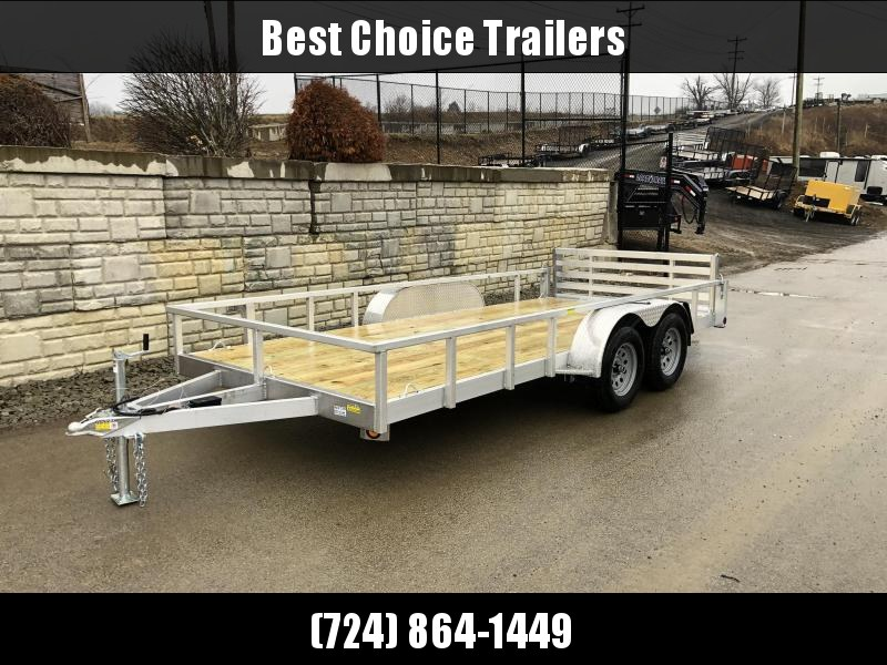 2021 QSA 7x16' Deluxe Aluminum Utility Landscape Trailer 7000# GVW * DROP AXLES * BI-FOLD GATE * TUBE TONGUE AND FRAME * HIGH SIDES * INTEGRATED FRAME * HD CROSSMEMBERS * SPARE MOUNT * TEARDROP FENDERS * FENDER GUSSETS