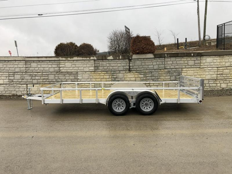 2021 QSA 7x16' Deluxe Aluminum Utility Trailer 7000# GVW * DROP AXLES * BI-FOLD GATE * TUBE TONGUE AND FRAME * HIGH SIDES * INTEGRATED FRAME