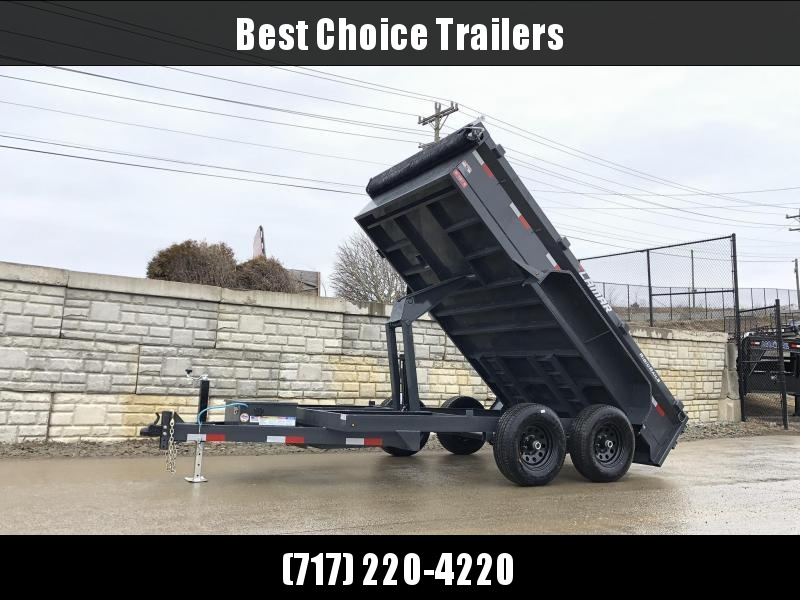 2020 Lamar 77x12' 9990# GVW Low Profile Dump Trailer * SCISSOR HOIST * DROP JACK * DELUXE TARP KIT * ADJUSTABLE COUPLER * CHARCOAL * SPARE MT * RIGID RAILS * HARD TO FIND WIDTH!!