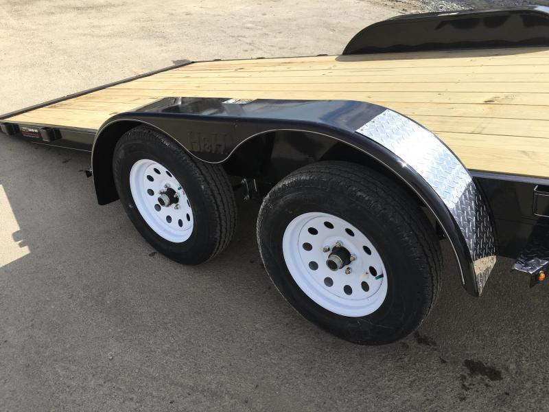 NEW H&H 7x18' MX Manual Tilt Car Hauler Trailer 7000# GVW * CLEARANCE - FREE ALUMINUM WHEELS