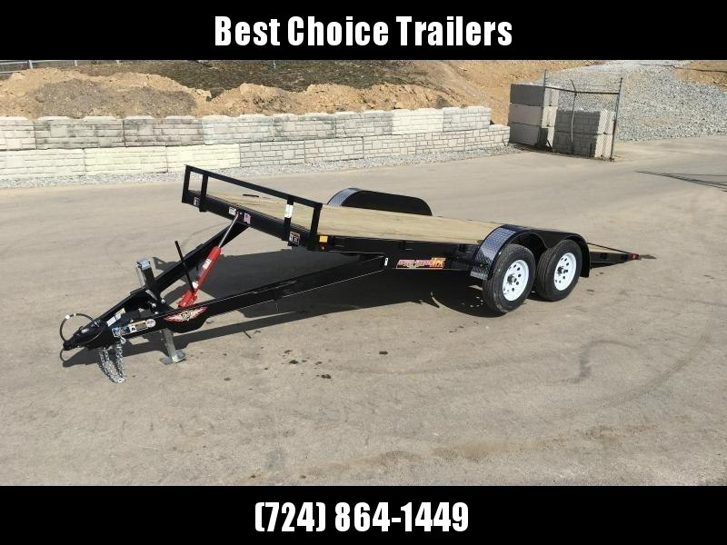 NEW H&H 7x18' MX Manual Tilt Car Hauler Trailer 7000# GVW * CLEARANCE - FREE ALUMINUM WHEELS