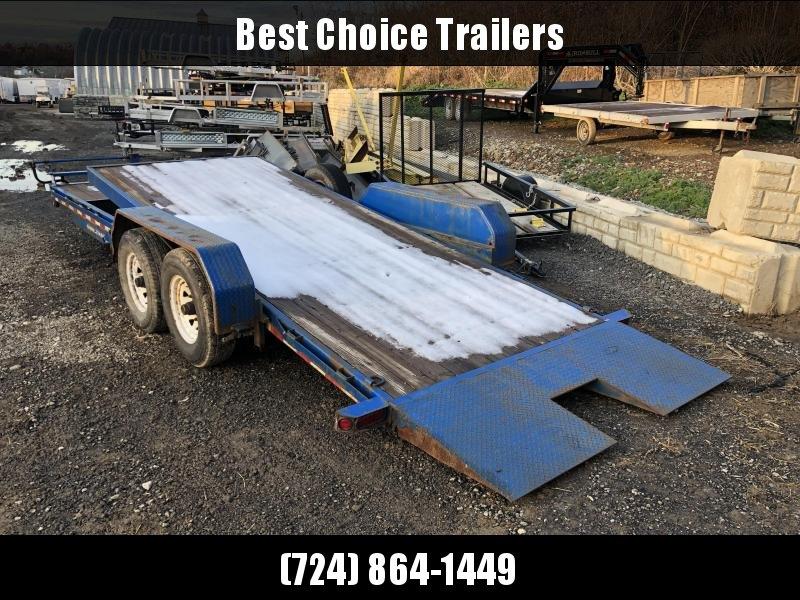 USED 2012 Sure Trac 7x18+4' Gravity Tilt Equipment Trailer * 7K DROP AXLES * INTEGRATED TOOLBOX * 12K JACK * LOTS OF TIE DOWNS