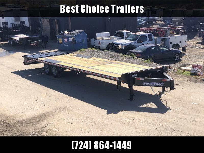 "2020 Sure-Trac 102x25+5' LowPro Beavertail Deckover Trailer 17600# GVW * 8000# AXLES * PIERCED FRAME * FULL WIDTH RAMPS *  DUAL JACKS * 12"" I-BEAM"