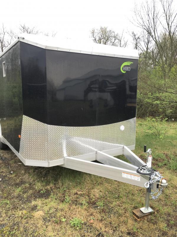2018 NEO 8.5x20' NACX Aluminum Spread Axle Round Top Enclosed Car Hauler Trailer 9990# GVW * GENERATOR DOOR * VINYL CEILING * 4-LED STRIP LIGHT * A/C UNIT * 50 AMP ALEC * EXTRUDED FLOOR/RAMP