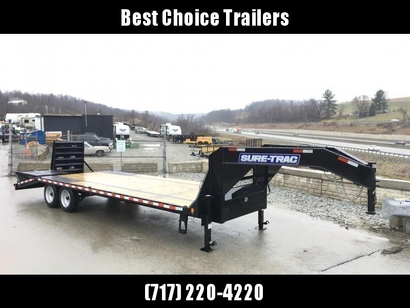 "2020 Sure-Trac 102x25' Gooseneck Beavertail Deckover Trailer 17600# GVW * 8000# AXLES * 17.5"" 16-PLY TIRES * 3 3/8"" BRAKES * DUAL JACKS * FULL TOOLBOX * FULL WIDTH RAMPS (STAND UP OR FLIPOVER) * 12"" I-BEAM * PIERCED FRAME * (10) 1"" D-RINGS * CROSS TRAC"