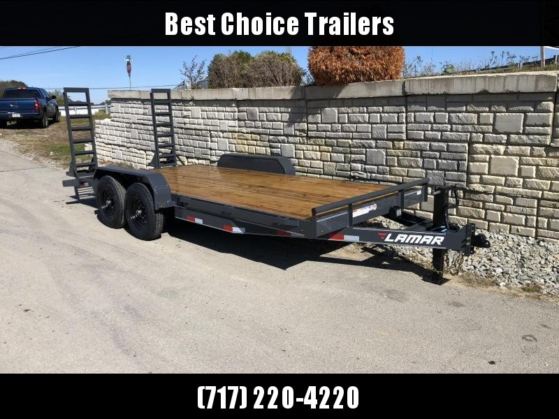 2020 Lamar 7x20' Equipment Trailer 14000# GVW * STAND UP SPRING ASSISTED RAMPS * CHARCOAL POWDERCOAT * RUBRAIL/STAKE POCKETS/PIPE SPOOLS/D-RINGS * REM FENDERS * 12K JACK * CAST COUPLER * COLD WEATHER HARNESS * DIA PLATE DOVETAIL