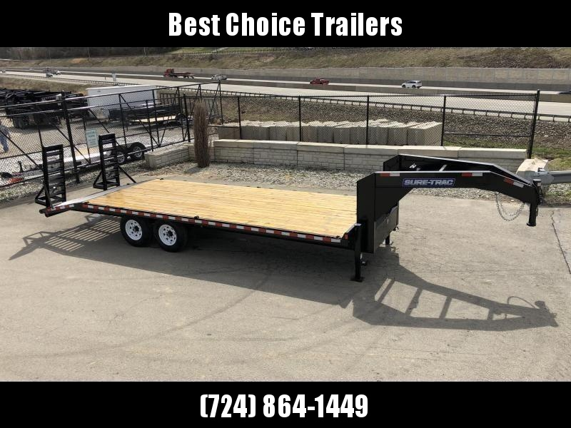 "2020 Sure-Trac 102x24 Gooseneck Beavertail Deckover Trailer 15000# GVW * FULL TOOLBOX * DUAL 12K JACKS * HD 4"" CHANNEL STAND UP RAMPS + SPRING ASSIST * 10"" I-BEAM MAINFRAME * CHANNEL SIDE RAIL * RUBRAIL/STAKE POCKETS/D-RINGS * LED'S * POWDERCOATED"