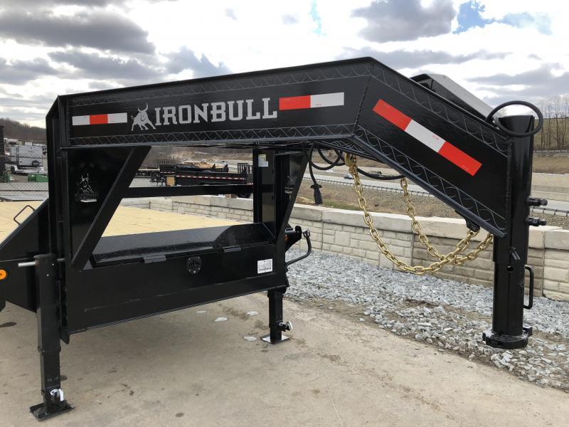 2019 Ironbull 102x27+5' Gooseneck Beavertail Flatbed Deckover 22000# GVW * FULL WIDTH RAMPAGE RAMPS * PIERCED FRAME * SPARE TIRE * UNDER FRAME BRIDGE