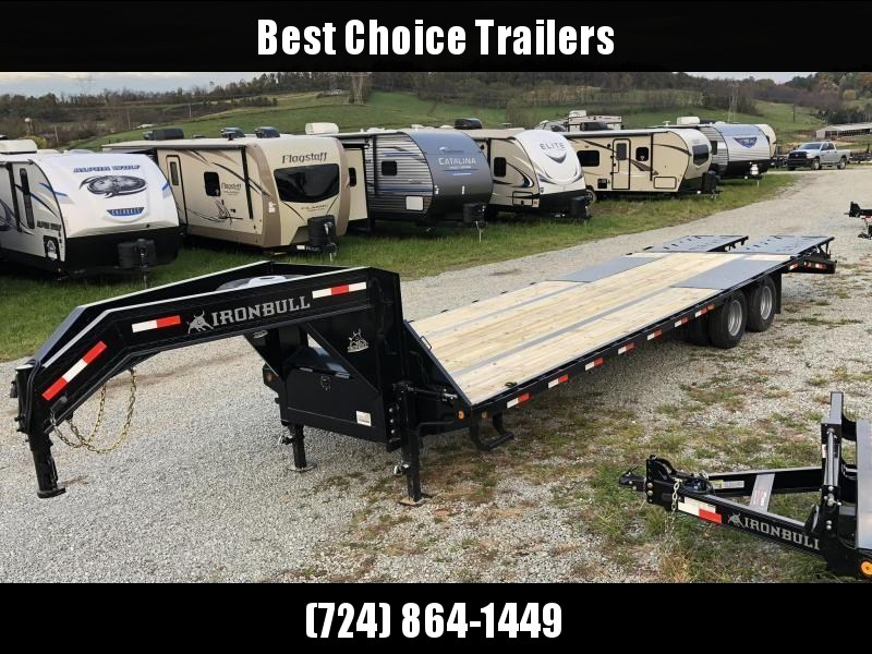2019 Ironbull 102x27+5' Gooseneck Beavertail Flatbed Deckover 22000# GVW * FULL WIDTH RAMPAGE RAMPS * PIERCED FRAME * SPARE TIRE * UNDER FRAME BRIDGE * CLEARANCE