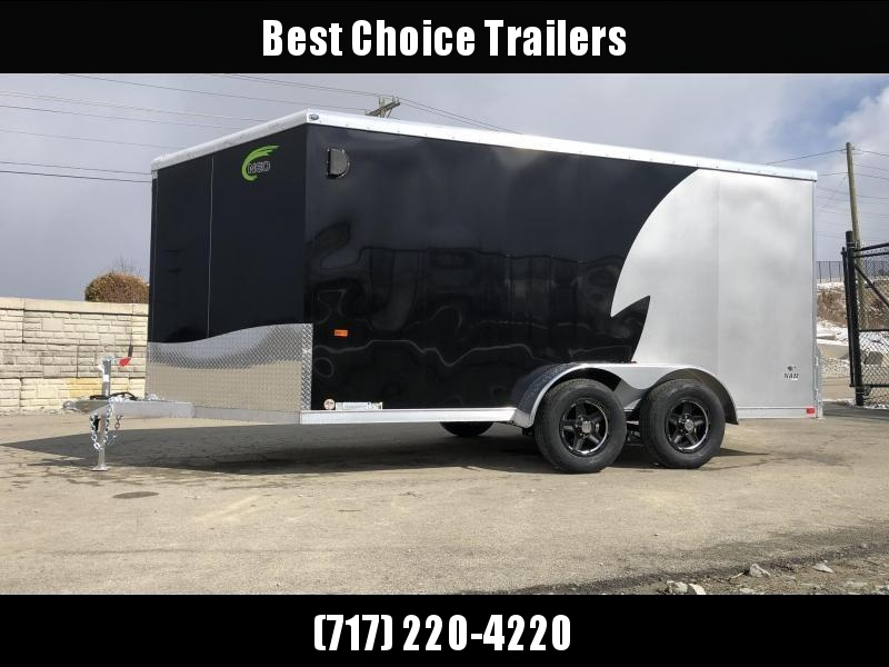 "2020 Neo 7x14 NAMR Aluminum Enclosed Motorcycle Trailer * VINYL WALLS * ALUMINUM WHEELS * +6"" HEIGHT * BLACK+SILVER * SPORT TIE DOWN SYSTEM"