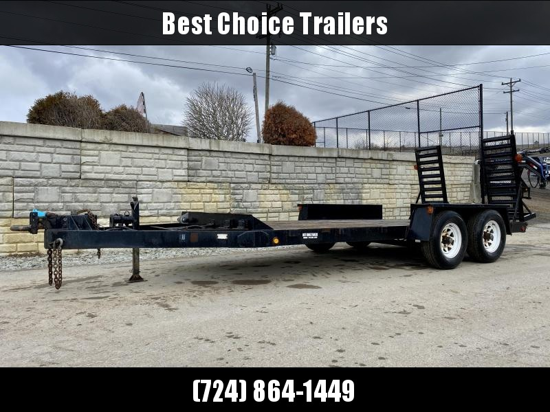 USED Pequea 7x16' 10000# GVW Equipment Trailer * PINTLE * CHAIN TRAY * STAND UP RAMPS