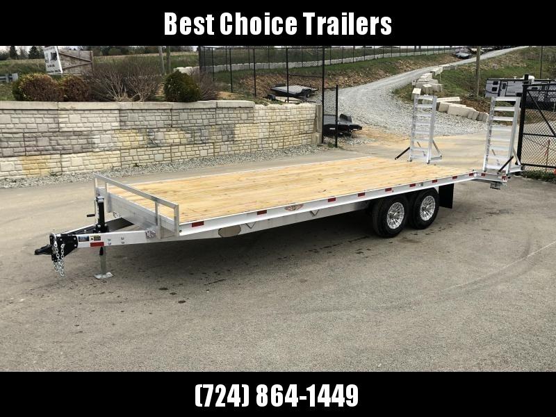 2020 H&H 102x20+4 Aluminum Beavertail Deckover Flatbed Trailer 14000# GVW * ALUMINUM STAND UP RAMPS