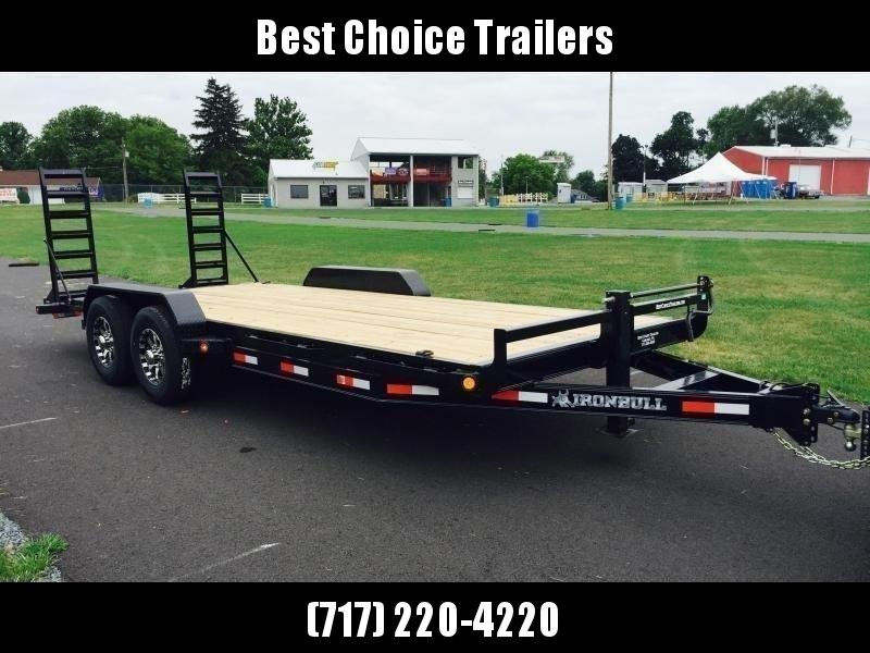 """2019 Ironbull 7x18' Equipment Trailer 14000# GVW * KNIFEEDGE RAMP W/ ADJUSTABLE SUPPORT * REMOVABLE FENDERS * 16"""" O.C. STRUCTURAL CHANNEL C/M * RUBRAIL/STAKE POCKETS/PIPE SPOOLS/D-RINGS * ADJUSTABLE CAST COUPLER * 12K JACK * CLEARANCE"""