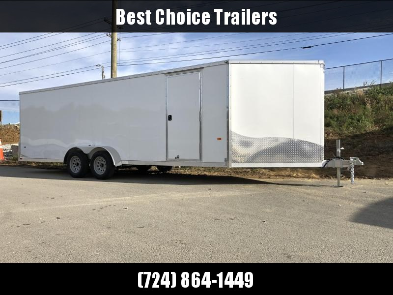 """2019 Neo 7x26' NASF Aluminum Enclosed All-Sport Trailer * WHITE * FRONT RAMP * NXP LATCHES * FLOOR TIE DOWN SYSTEM * REAR JACKSTANDS * UPGRADED 16"""" OC FLOOR * UPPER CABINET * UTV * ATV * Motorcycle * Snowmobile * CLEARANCE"""