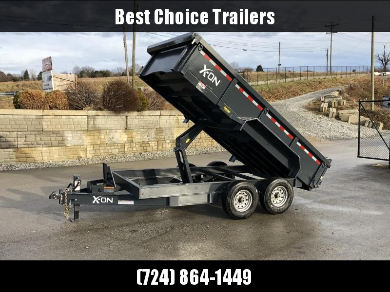 "2019 X-on 7x14' Low Profile Dump Trailer 16000# GVW * 8000# AXLE UPGRADE * 14-PLY RUBBER * 7 GA FLOOR * TARP KIT * SCISSOR * 3 WAY GATE * 8"" I-BEAM TONGUE & FRAME UPGRADE * CLEARANCE"