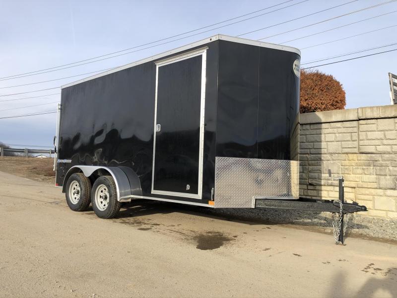 "2020 Wells Cargo 7x14' Road Force Enclosed Cargo Trailer 7000# GVW * BLACK EXTERIOR * RAMP DOOR * V-NOSE * SCREWLESS .030 EXTERIOR * 6'6"" HEIGHT * TUBE STUDS * 1 PC ROOF * 16"" O.C. WALLS/FLOOR * RV DOOR * ARMOR GUARD * BULLET LED'S"
