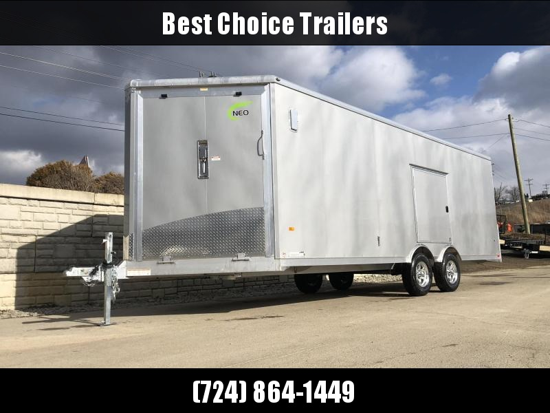2020 NEO 8.5x22' NMS Aluminum Enclosed All Sport Car Hauler Trailer 9990# GVW * SILVER * BIKES UTV'S SNOWMOBILE CARS ATV'S * ROUND TOP * ALUM WHEELS * NUDO * 5200# TORSION *12V POWER PKG * VINYL LINER/WALLS * CABINET * FRONT RAMP