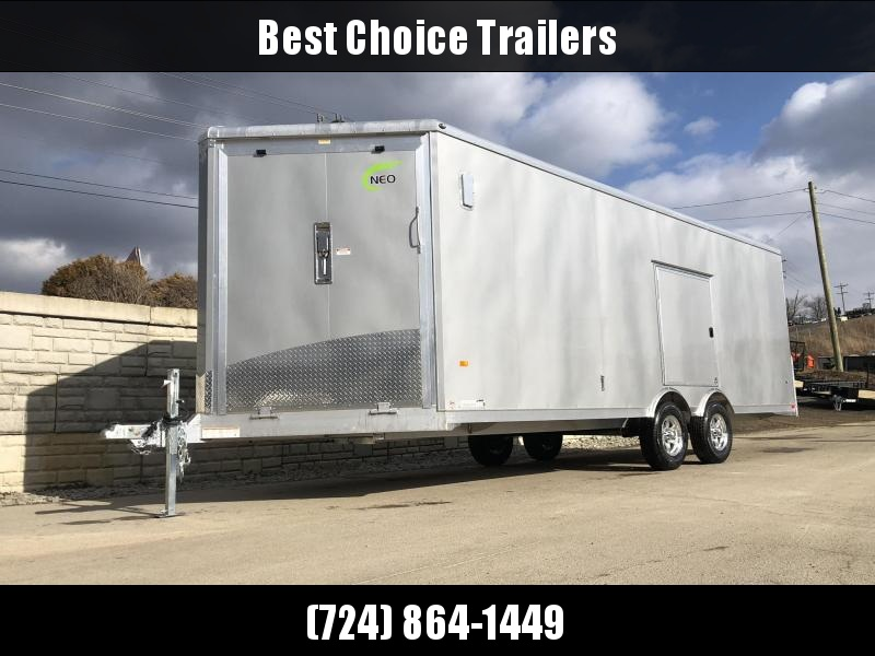 2020 NEO 8.5x22' NMS Aluminum Round Top Enclosed All Sport Car Hauler Trailer 9990# GVW NMS2285TR * LOADED * SILVER EXTERIOR * BIKES UTV'S SNOWMOBILE CARS ATV'S