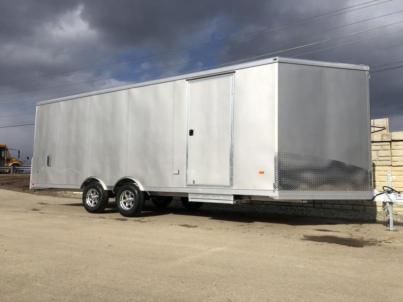 2020 NEO 8.5x22' NMS Aluminum Enclosed All Sport Car Hauler Trailer 9990# GVW * SILVER * BIKES UTV'S SNOWMOBILE CARS ATV'S * ROUND TOP * ALUM WHEELS * NUDO * 5200# TORSION *12V POWER PKG * VINYL LINER/WALLS * CABINET * FRONT RAMP