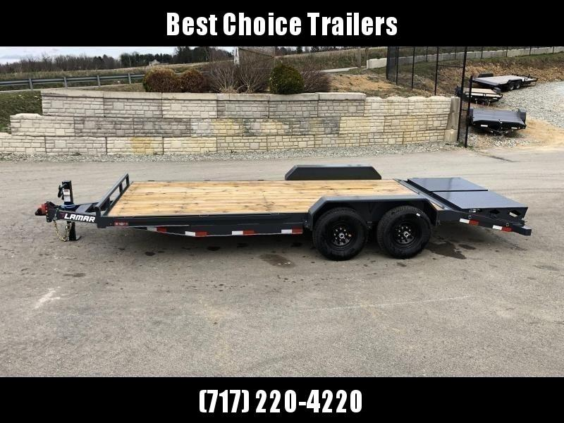 2020 Lamar 7x20' Equipment Trailer 14000# GVW * FULL WIDTH RAMPS W/ SPRING ASSIST+4' DOVE * CHARCOAL POWDERCOAT * RUBRAIL/STAKE POCKETS/PIPE SPOOLS/D-RINGS * REM FENDERS * 12K JACK * CAST COUPLER * COLD WEATHER HARNESS * DIA PLATE DOVETAIL