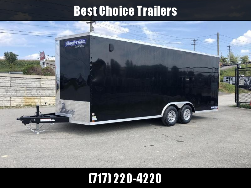 "2020 Sure-Trac 8.5x24' Enclosed Car Trailer 9900# GVW * BLACK * 7000# DROP LEG JACK * SCREWLESS * 48"" DOOR * ALUMINUM WHEELS"