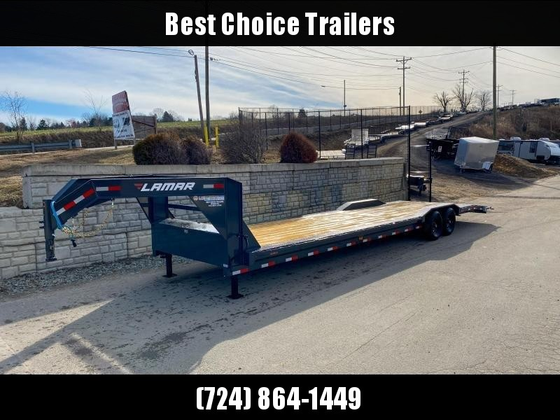 "2020 Lamar 102x32' Gooseneck Car Hauler Trailer 14000# GVW * 102"" DECK * DRIVE OVER FENDERS * OVERLENGTH 7' SLIDE IN RAMPS * 4' DOVETAIL * RUBRAIL * SWIVEL JACKS * UNDER FRAME BRIDGE * DUAL JACKS * FULL TOOLBOX"