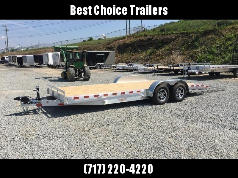 "2020 H&H 7x20' Aluminum Car Hauler Trailer 9990# GVW * HEAVY DUTY 8"" FRAME * EXTRUDED BEAVERTAIL * 7000# DROP LEG JACK * ALUMINUM WHEELS"