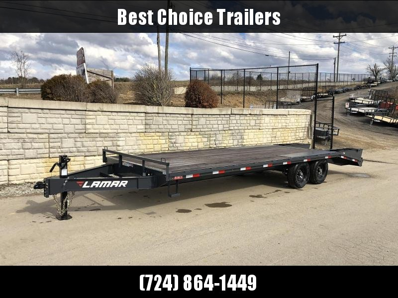 "2019 Lamar 102x24' Beavertail Deckover Trailer 14000# GVW * FLIPOVER RAMPS + SPRING ASSIST  * CHARCOAL * TOOL TRAY * HD COUPLER * I-BEAM FRAME * 16"" O.C. C/M * RUBRAIL/STAKE POCKETS/PIPE SPOOLS * CHANNEL SIDE RAIL * 4X8"" TUBE BUMPER * CLEARANCE"