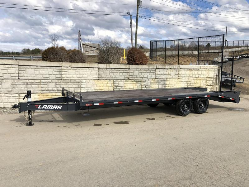 """2019 Lamar 102x24' Beavertail Deckover Trailer 14000# GVW * FLIPOVER RAMPS + SPRING ASSIST  * CHARCOAL * TOOL TRAY * HD COUPLER * I-BEAM FRAME * 16"""" O.C. C/M * RUBRAIL/STAKE POCKETS/PIPE SPOOLS * CHANNEL SIDE RAIL * 4X8"""" TUBE BUMPER * CLEARANCE"""