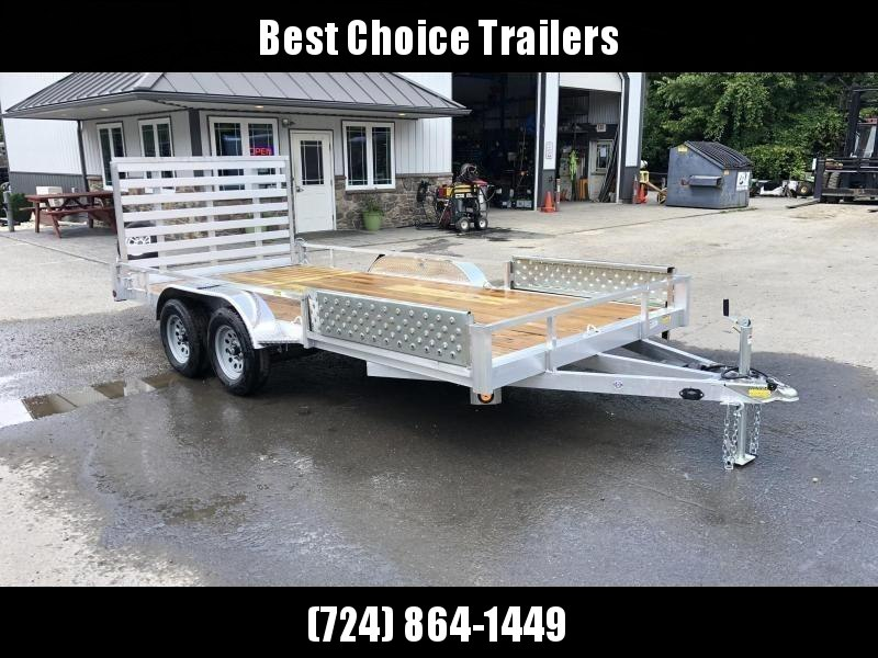 2020 QSA 7x16' Aluminum Utility Landscape Trailer 7000# GVW * ATV SIDE RAMPS * STANDARD MODEL * TUBE FRAME AND TONGUE * SPARE MOUNT * TIE DOWNS * 4' FOLD IN GATE * LED'S * FENDER GUSSETS * TUBE TOP RAIL