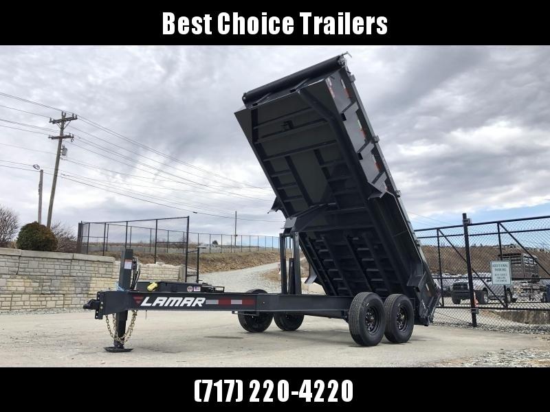 "2020 Lamar 7x16' Dump Trailer 14000# GVW * HYDRAULIC JACK * OIL BATH HUBS * REAR JACKSTANDS * 14-PLY TIRES * 12"" O.C. C/M * 7GA FLOOR  * TARP KIT * SCISSOR HOIST * 12K JACK * CHARCOAL * RIGID RAILS * HD COUPLER * NESTLED I-BEAM FRAME 28"" H * 3-WAY GATE"