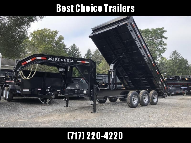 2019 Ironbull 8x16' Gooseneck Deckover Dump Trailer 21000# GVW * TARP KIT * I-BEAM FRAME * BED RUNNERS * FULL FRONT TOOLBOX * DUAL JACKS * FOLD DOWN SIDES * 5x20 SCISSOR * INTGRATED KEYWAY/10GA WALLS * CLEARANCE