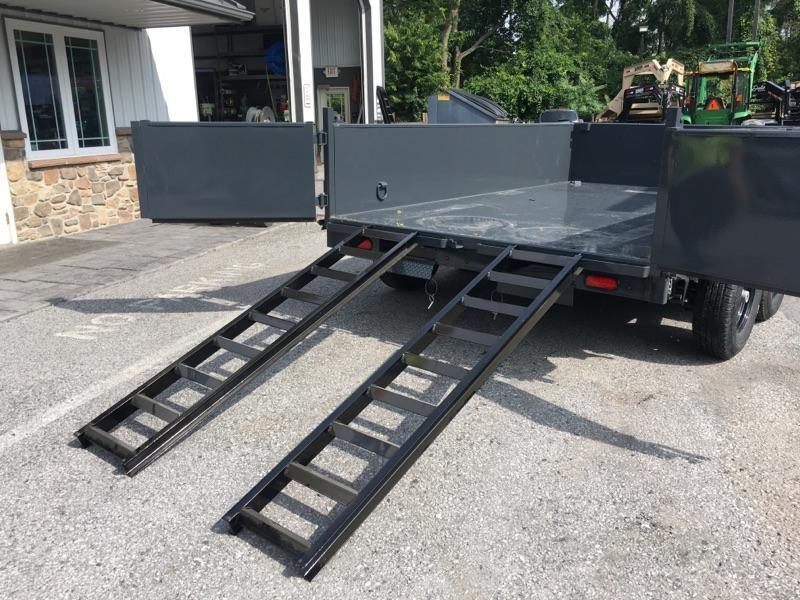 2020 Lamar 7x12' Dump Trailer 14000# GVW * 7GA FLOOR * TARP * RAMPS * SPARE MOUNT * 12K JACK * CHARCOAL WITH BLACK WHEELS